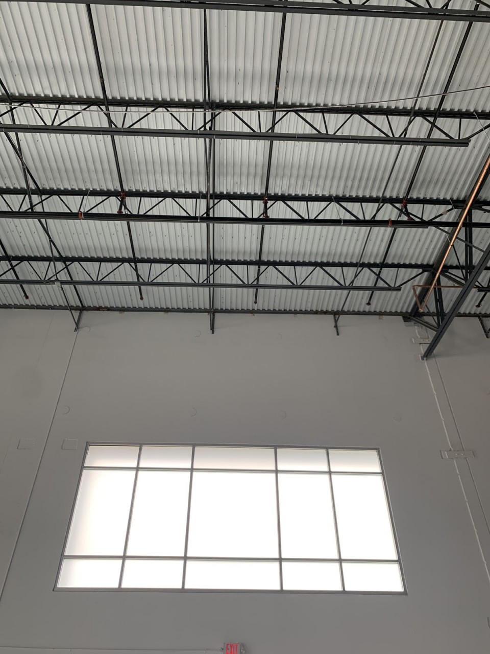 White Frost on glass in warehouse space
